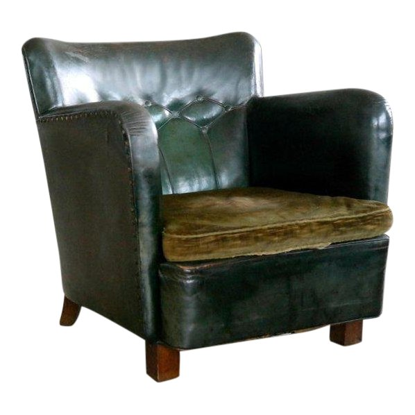Stupendous Danish 1930S Fritz Hansen Style Club Chair In Tufted Green Frankydiablos Diy Chair Ideas Frankydiabloscom