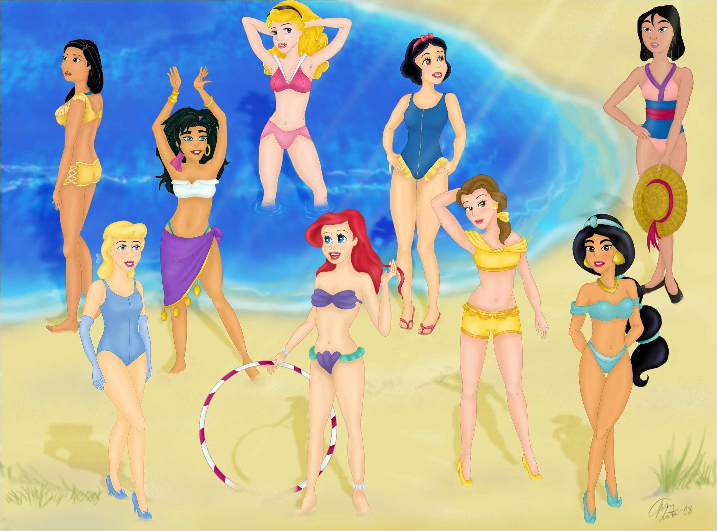 Famous cartoon characters in bikinis