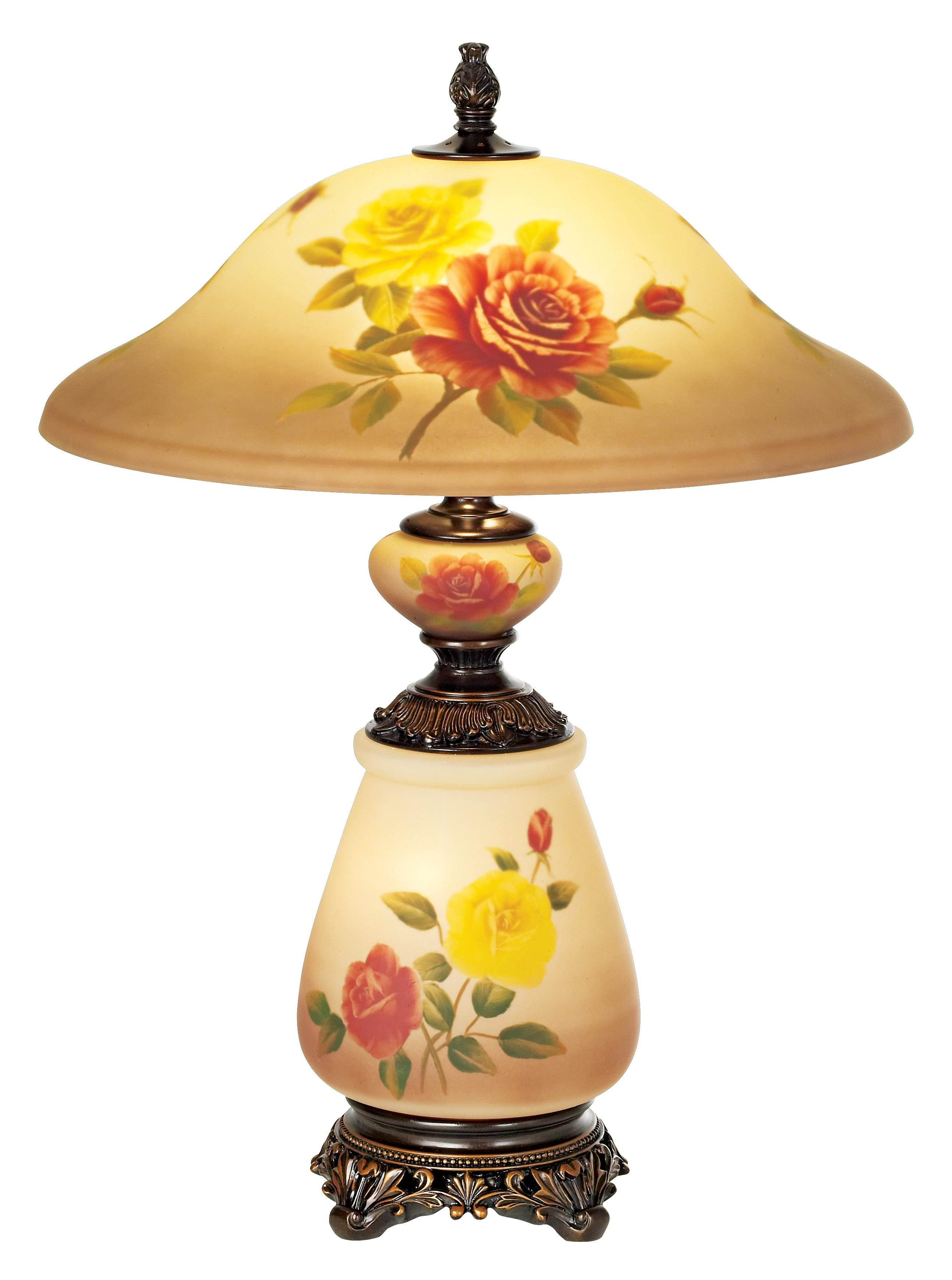 Rose Floral Painted Glass Table Lamp With Night Light Lampsplus