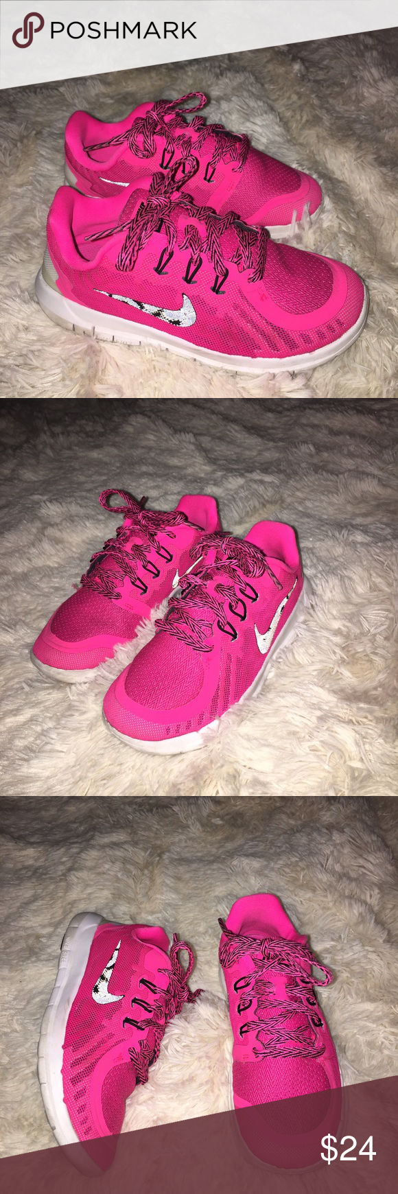 Nike little girls 13c running shoes Great condition girls 13c reflective  Nike swoosh Nike Shoes Sneakers
