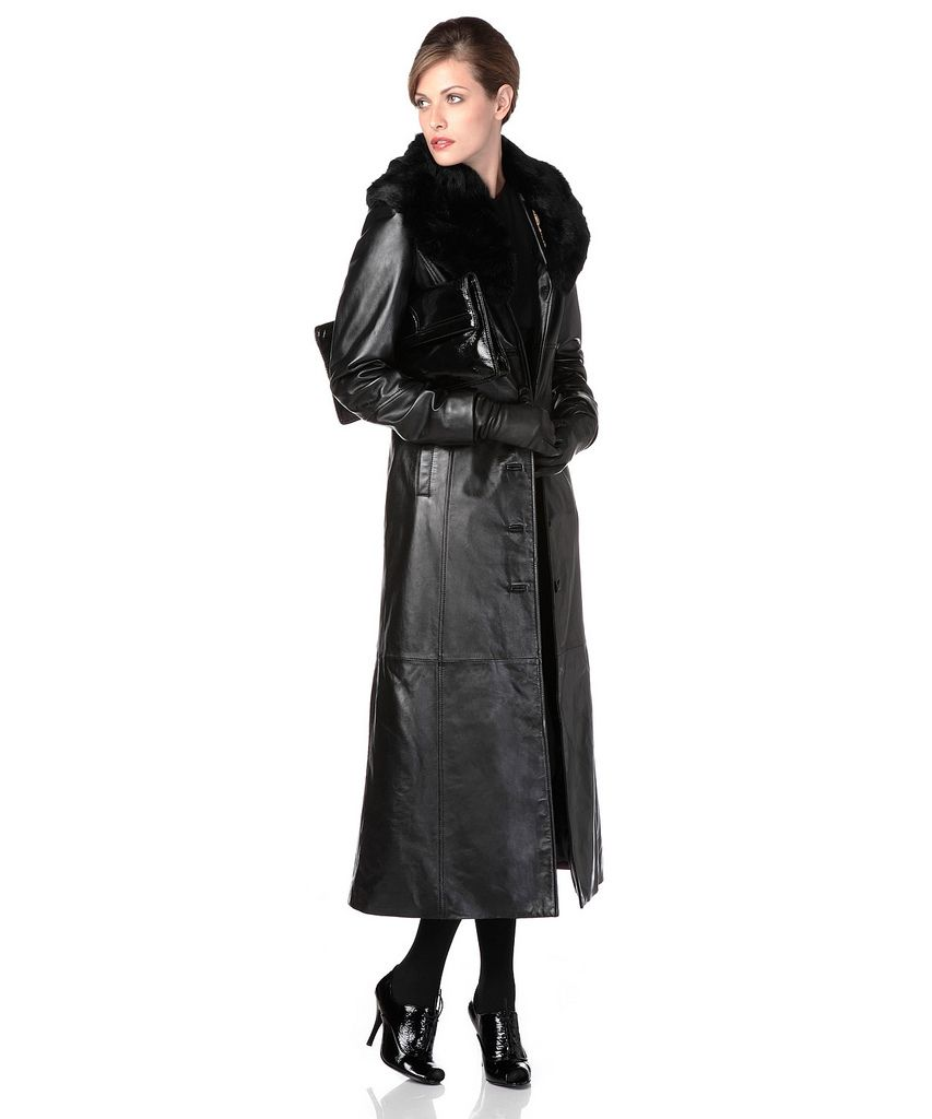 Long leather coat with fur collar. Looks great with matching black