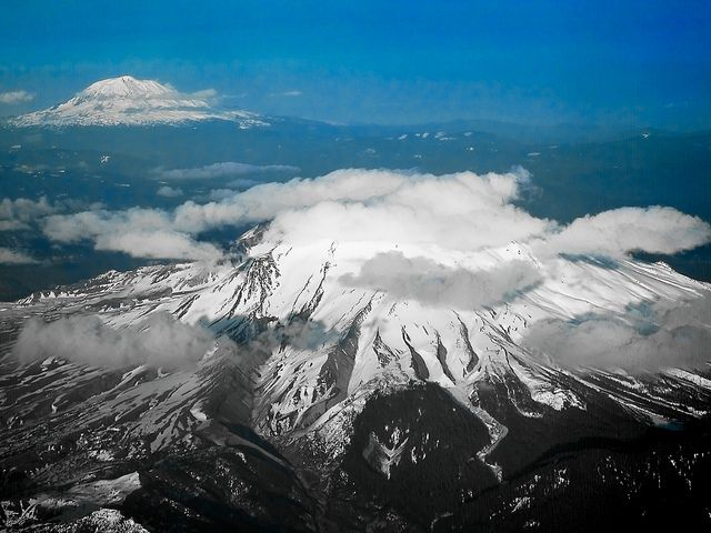 Mount St. Helens with Mount Adams in the background by K Jurgens, via Flickr