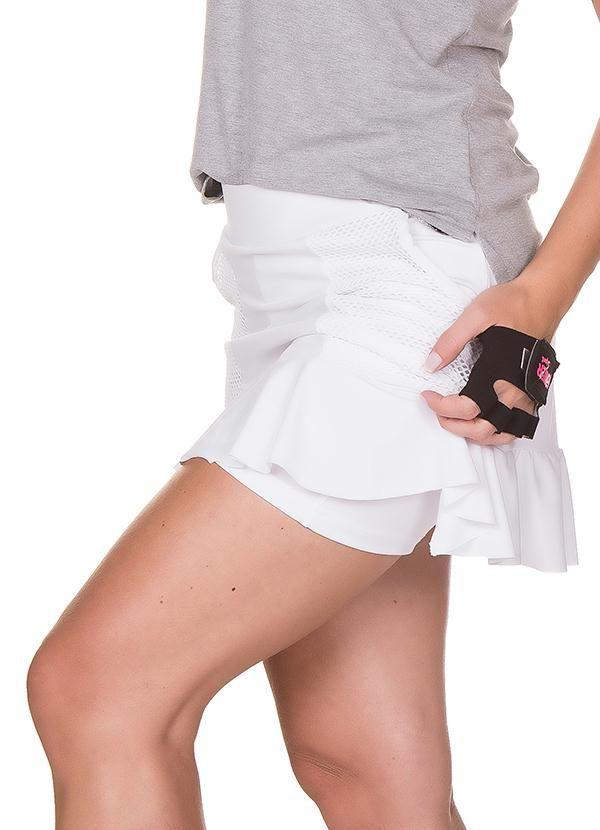 Saia Shorts com Babados Branca Janfer