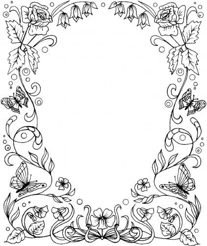 coloring pages flower borders - photo#20