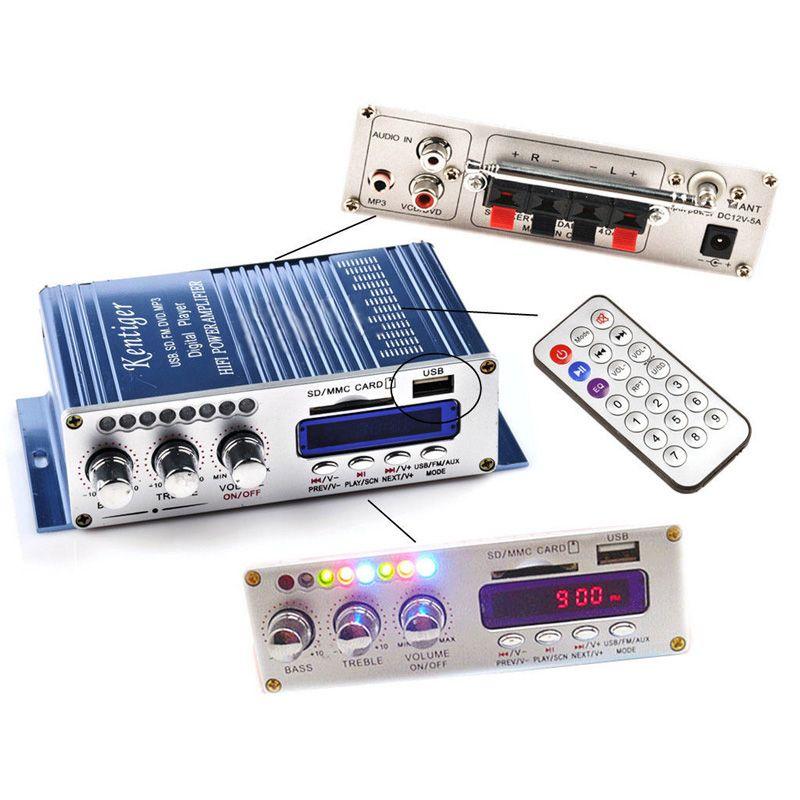 12V 2CH HI-FI Bluetooth Car Power Amplifier FM Radio Stereo Audio Player W// iPod