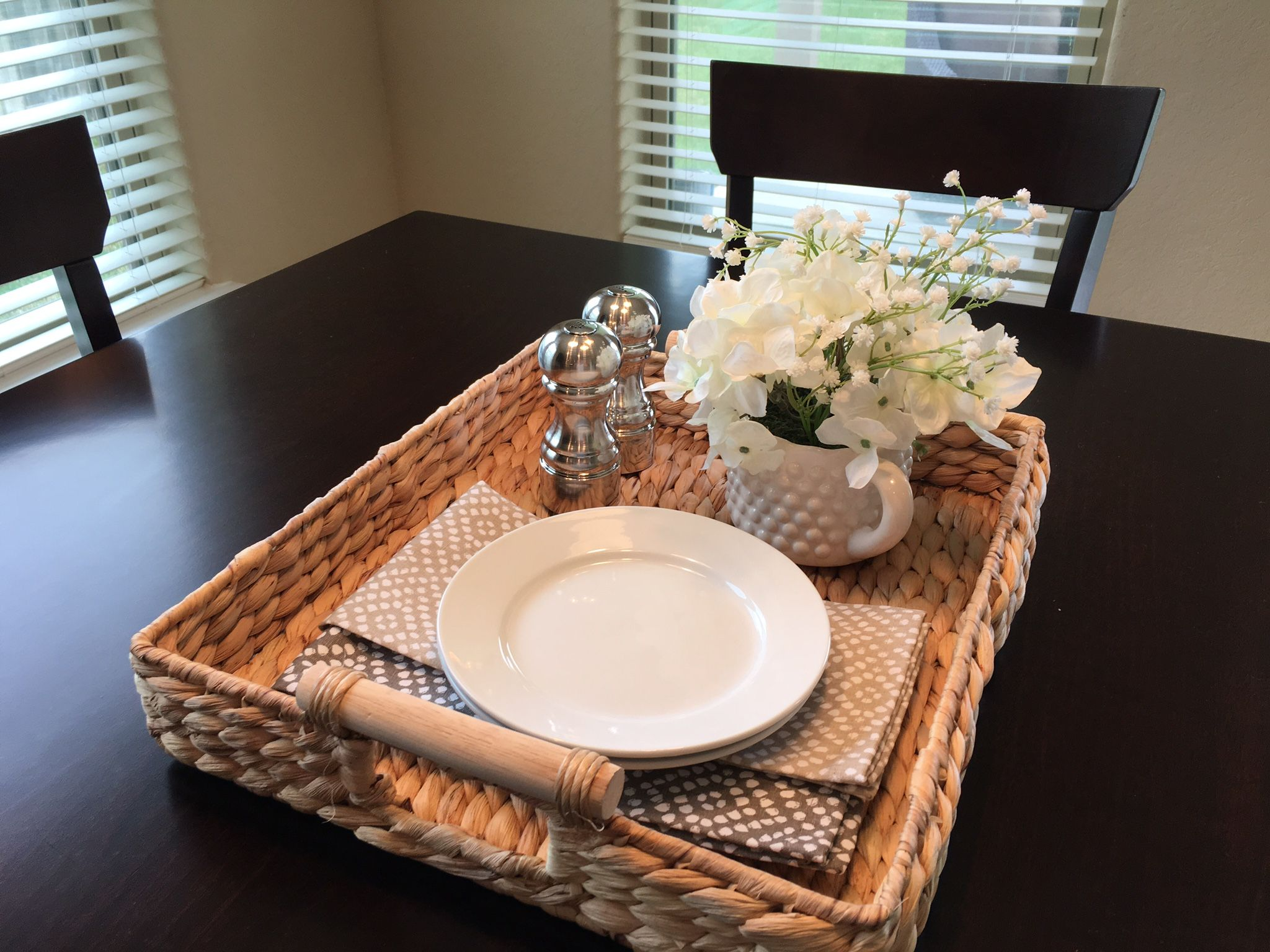 Kitchen Table Vignette ideas Tray with neutral tone cloth napkins