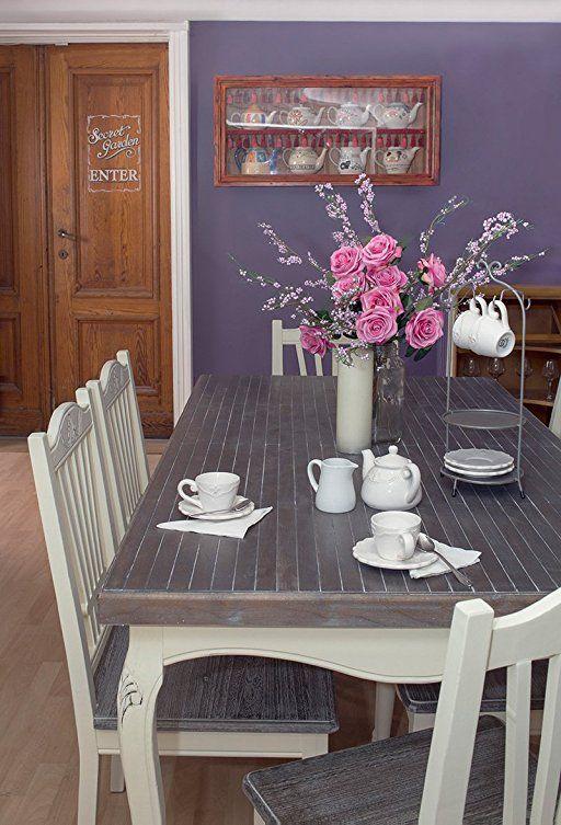 Heritage stile shabby chic in legno con tavolo e 6 sedie