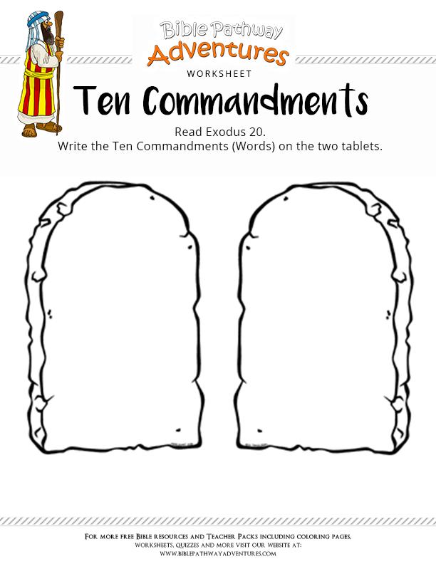 Bible Worksheet: Ten Commandments | Ten commandments, Free bible and ...