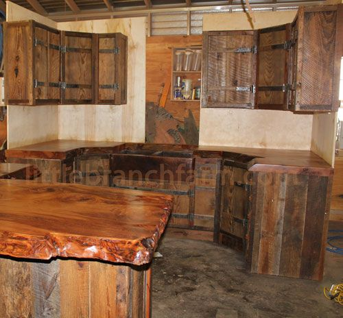 Barn Wood Kitchen Cabinets With Hand Forged Hinges And Natural