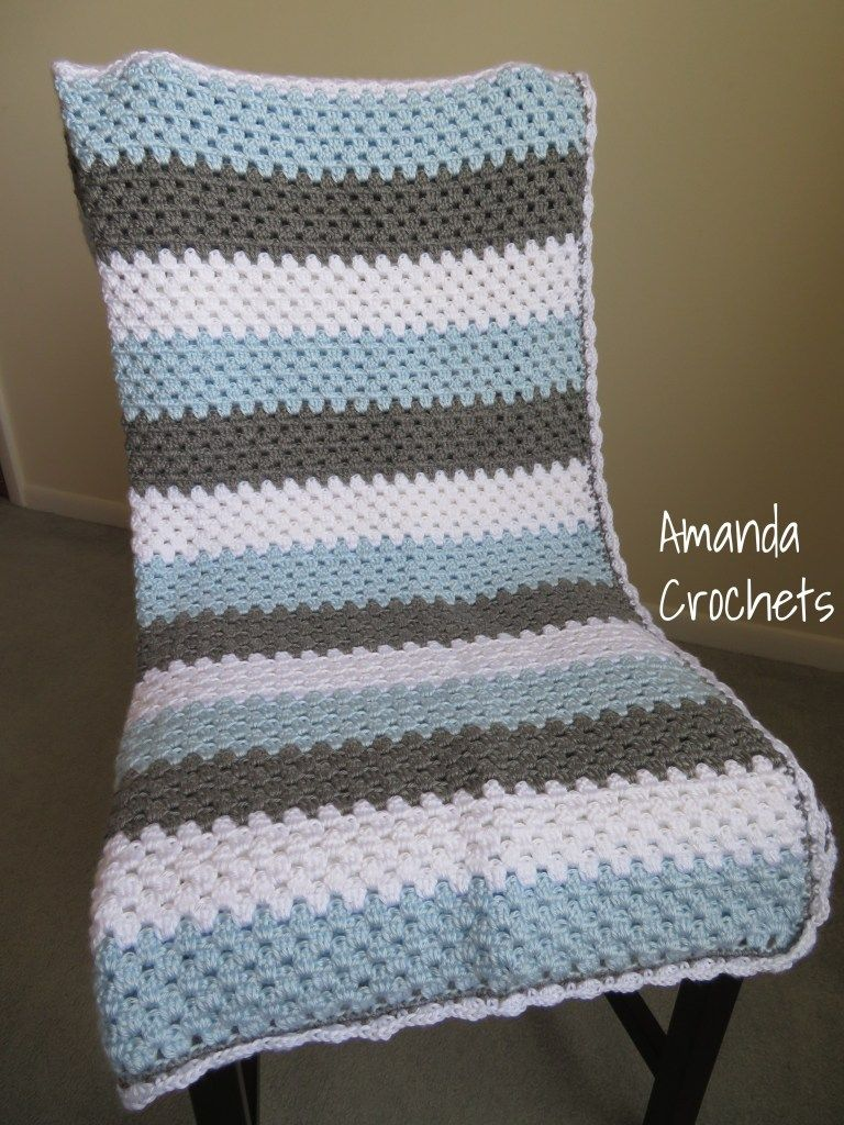 Photo of Granny Stripe Baby Boy Blanket – Amanda Crochets