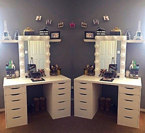 We Re Seeing Double And We Love It Alzbby S Lovely Setup Features The Impressionsvanityiconicxl In White With F Beauty Room Vanity Impressions Vanity Room