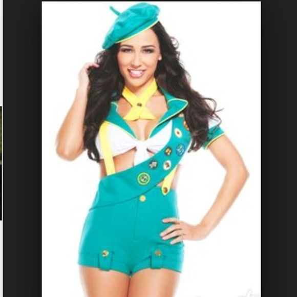 Girl Scout costume 45$ ON MERCARI Purchased but never even wore it paid 80$ for it. Don't have the original package for it I tossed it out.  SIZE SMALL  Includes: -hat -necktie  -sash -top -shorts -suspenders  -stockings  Price is firm. Other