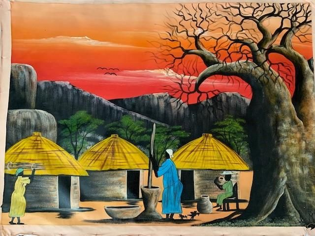 Photo of 'Village Baobab' – African Oil Painting