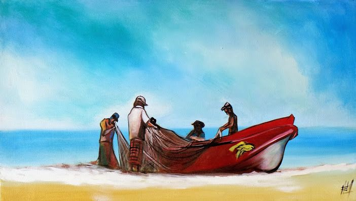 Fishing Boat At Negombo Beach Painting On Canvas Display At The