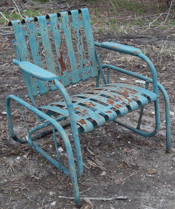 8101820682e2 Retro Metal Lawn Chair Teal Rustic Vintage Porch Furniture - This is about  what moms look like now too. Description from pinterest.com.