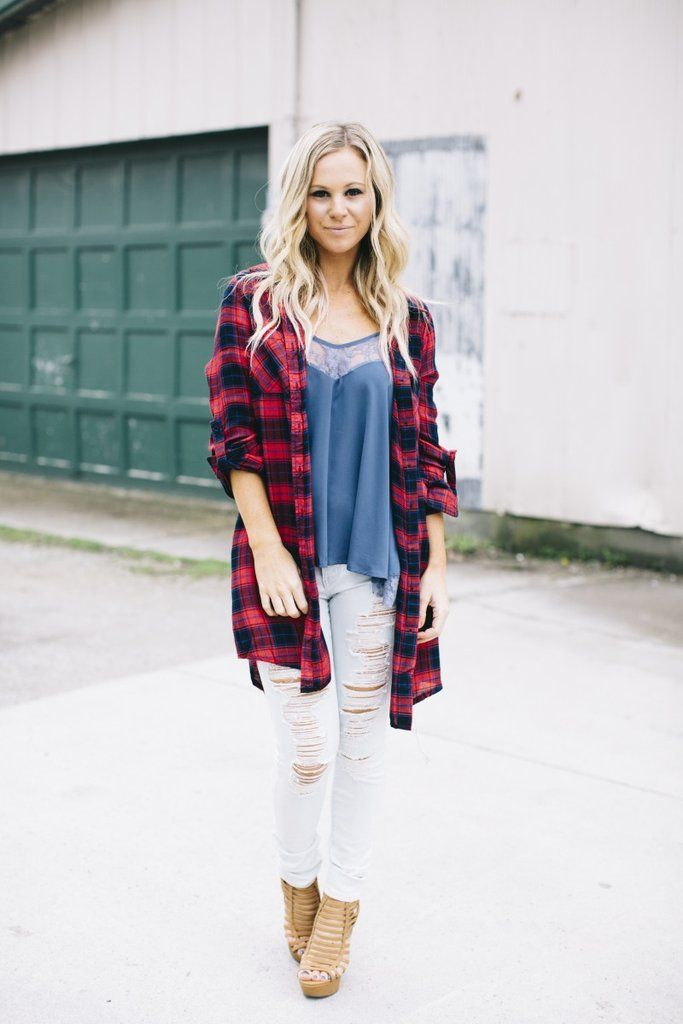 Red Oversized Flannel   Lane201 Boutique