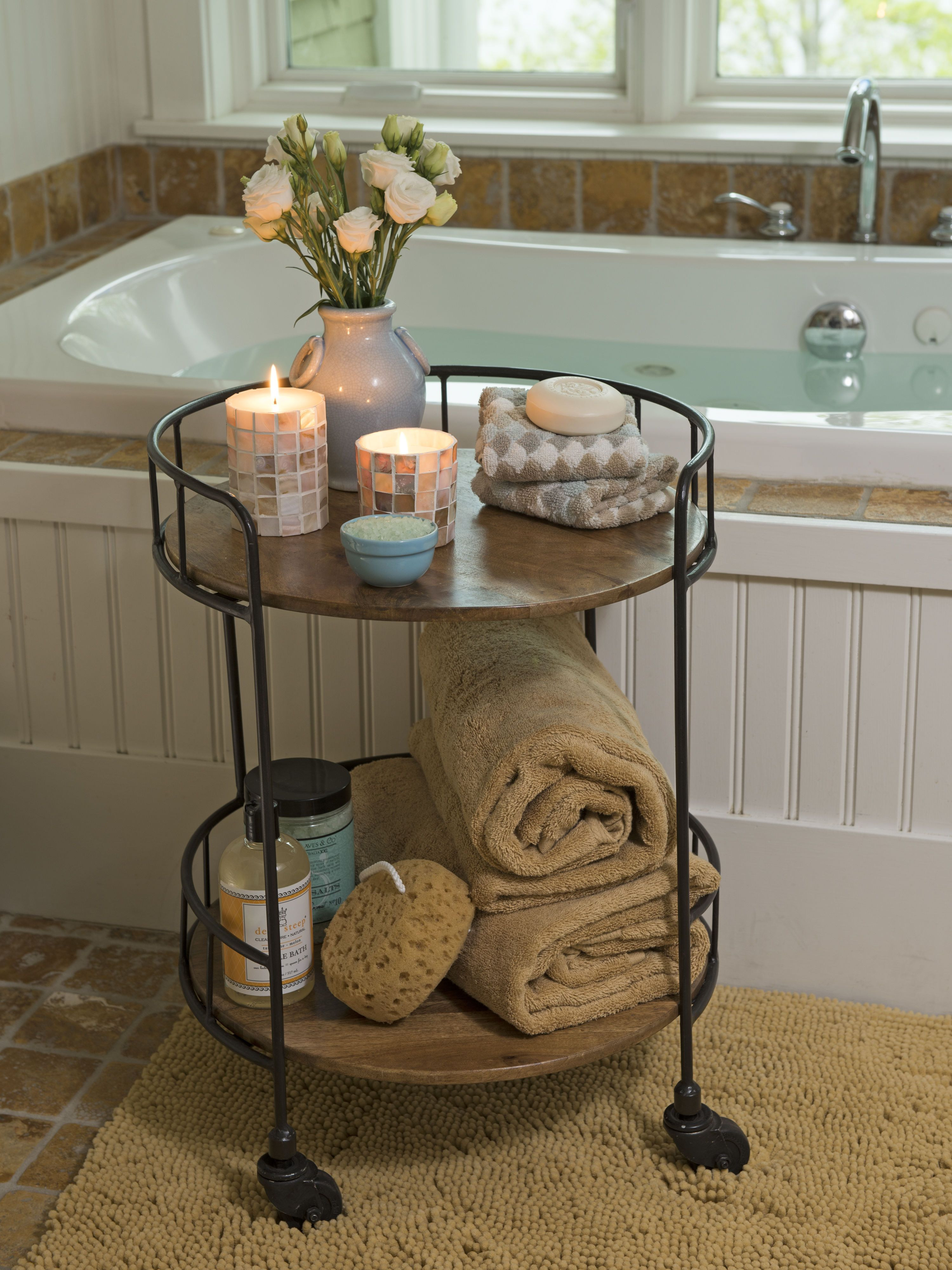 Rustic Side Table Astoria Rolling Accent Table Industrial Vibe I Really Want A Little Side Table For The Bathroom To Store Washcloths And Bubble Bath In