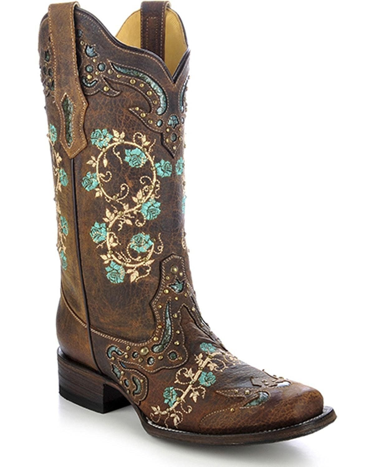 c2978f7693a CORRAL Women's Studded Floral Embroidery Cowgirl Boot Square Toe - R1373  #cowgirlboots