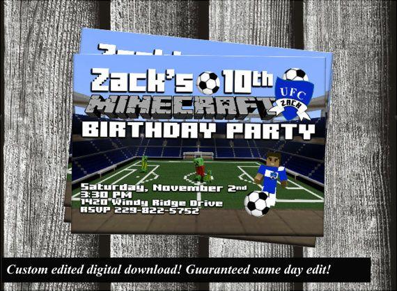 Minecraft Soccer Birthday Invitation Customized On Etsy