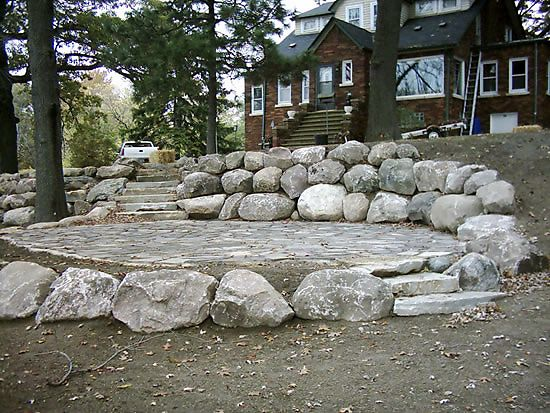 17 Large Boulder Retaining Wall-Superior Scape Landscaping Shelby