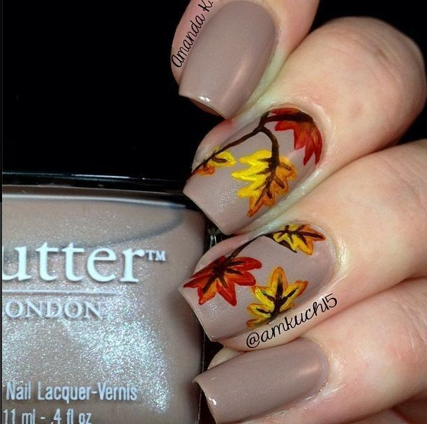 Diy Fall Leaves 2014 Thanksgiving Nails Polish Simple Leaf Art