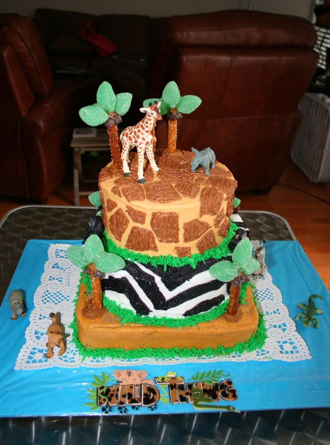 Remarkable Safari Safari Birthday Cakes First Birthday Cakes Funny Birthday Cards Online Inifodamsfinfo