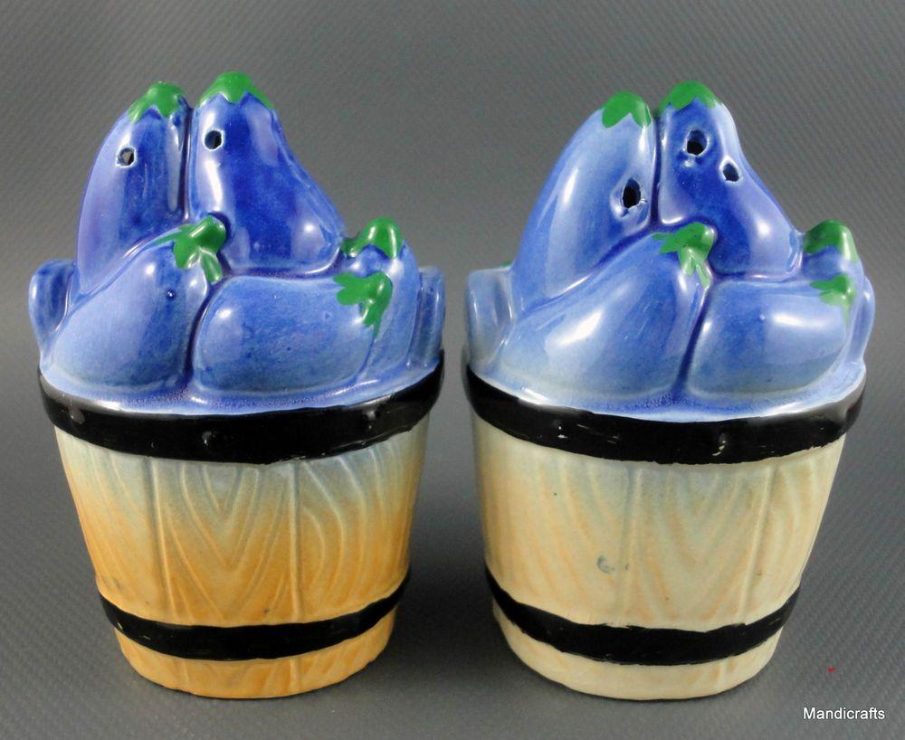 Salt & Pepper Eggplant Vegetables in Basket Figural Japan Shaker Set 4 inch  Vintage