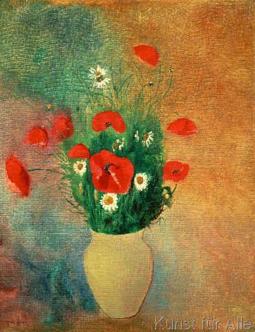 Kunstdruck Vase Mit Mohnblumen Und Margueriten Von Odilon Redon Auf Feinleinen Blumen Kunst Malen Kunstdruck