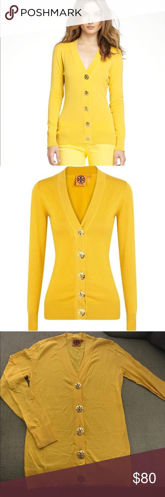 5a59c1349bcf Tory Burch yellow gold Simone logo Cardigan Small Gorgeous Simone cotton  gold button logo sweater in