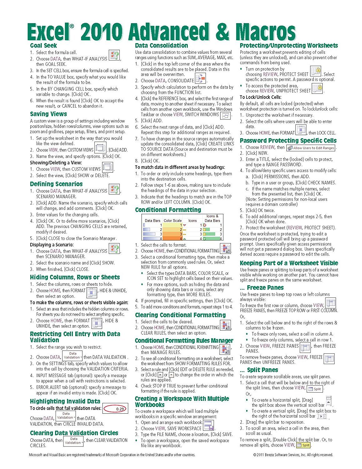 Microsoft Excel 2010 Advanced & Macros Quick Reference Guide (Cheat Sheet  of Instructions, Tips
