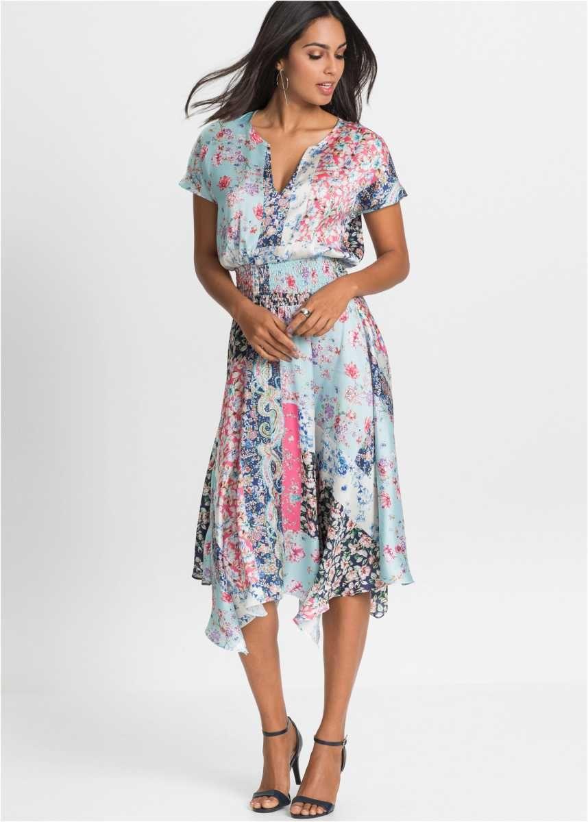 elegantes kleid mit smokeinsatz - hellblau floral