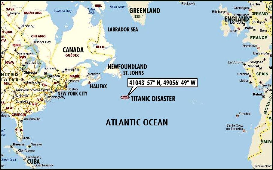 Where Did The Titanic Sink On Map Titantic Artifacts