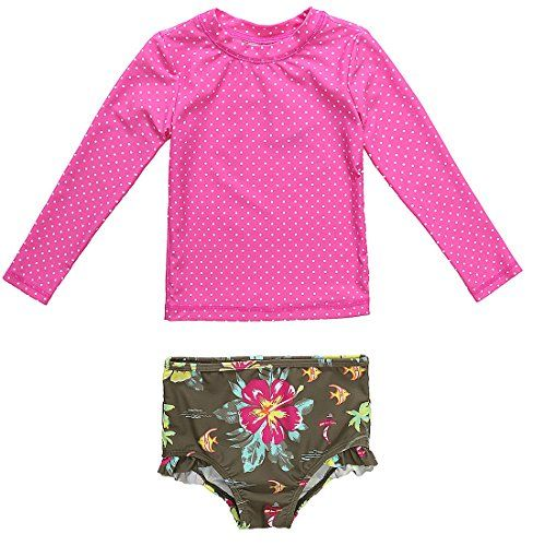 e9847b348 CharmLeaks Baby Girls' Long Sleeve Dot Rash Guard Set UV Sun Protection  Swim Set -- Additional details @