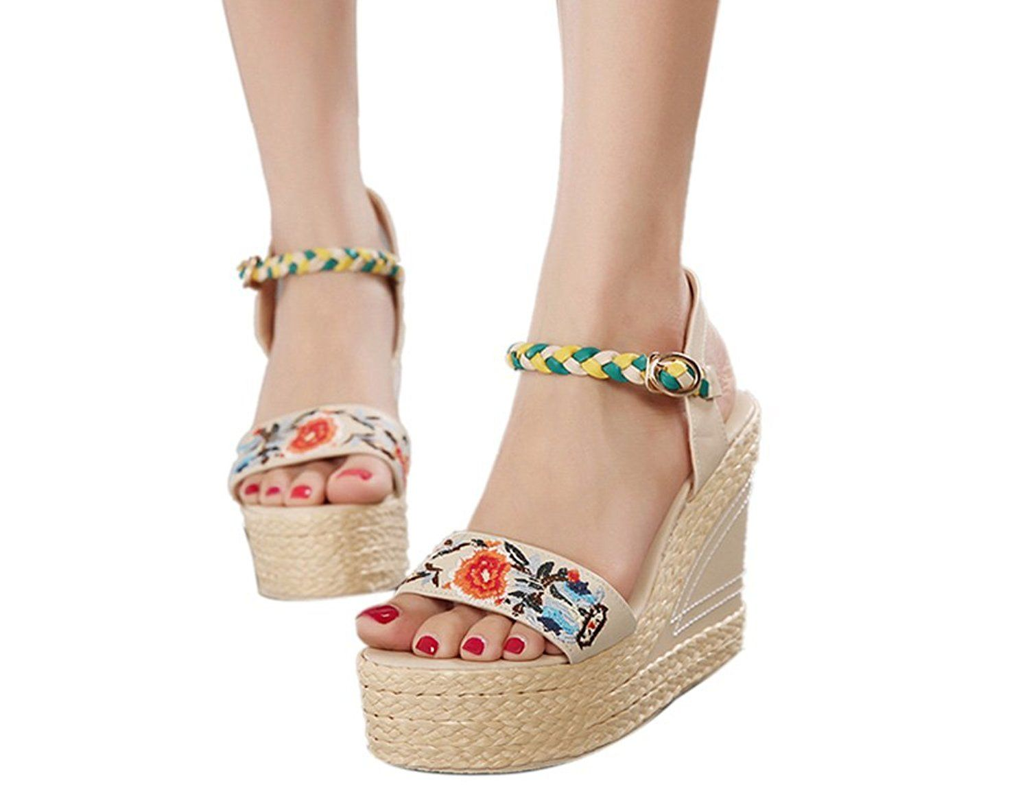 f43e6ffd80a9 Ashlen Women s Embroidery Floral Open Toe Ankle Strap Platform Wedge  Sandals   To view further for this item