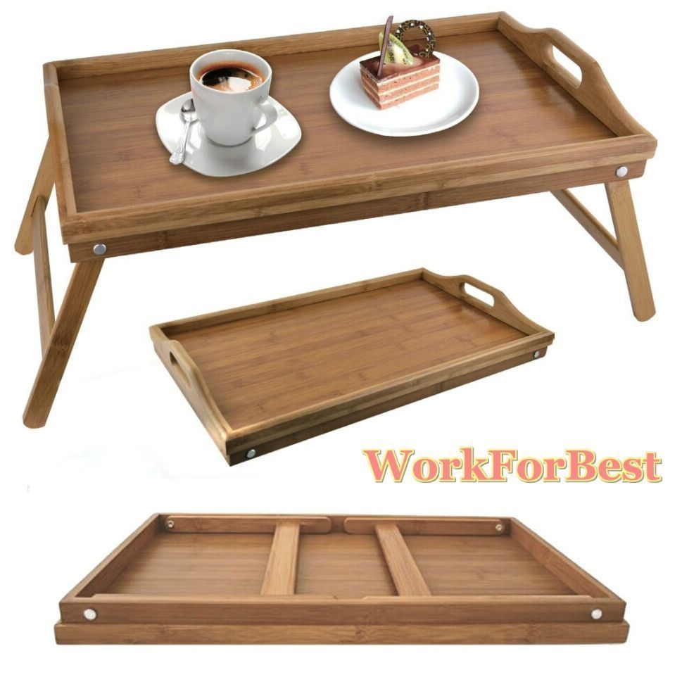 Folding breakfast tray legs serving lap over bed laptop for Bar portatil madera