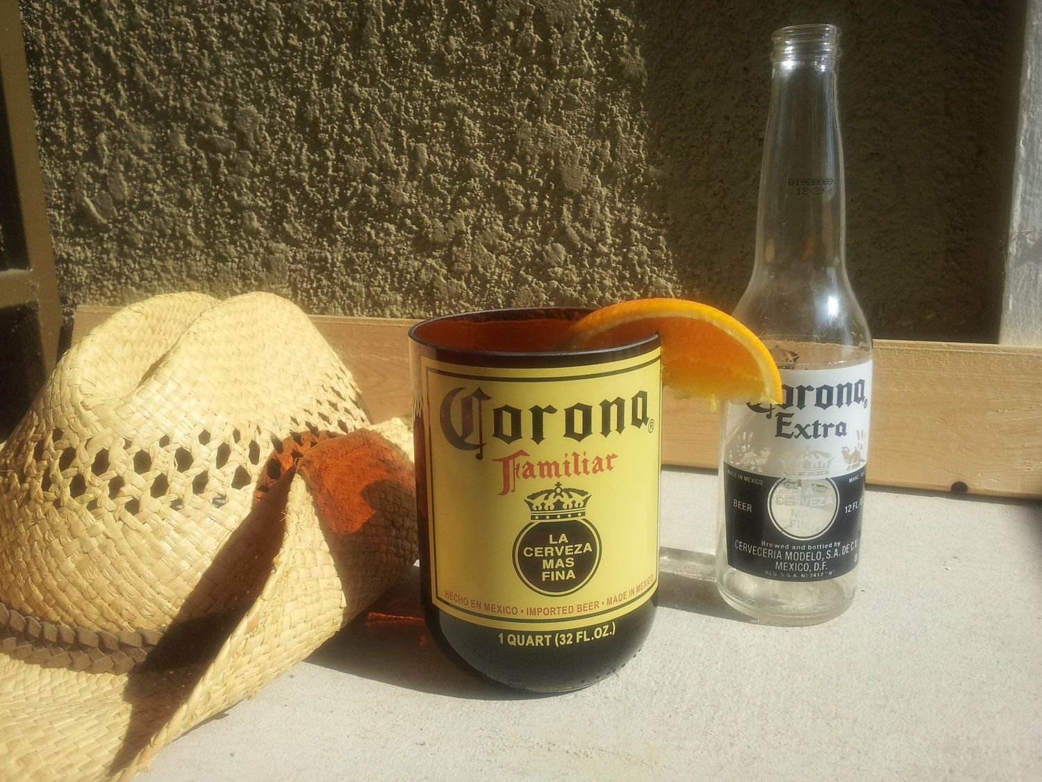 XL Repurposed Tumbler made from Corona Familiar Bottle