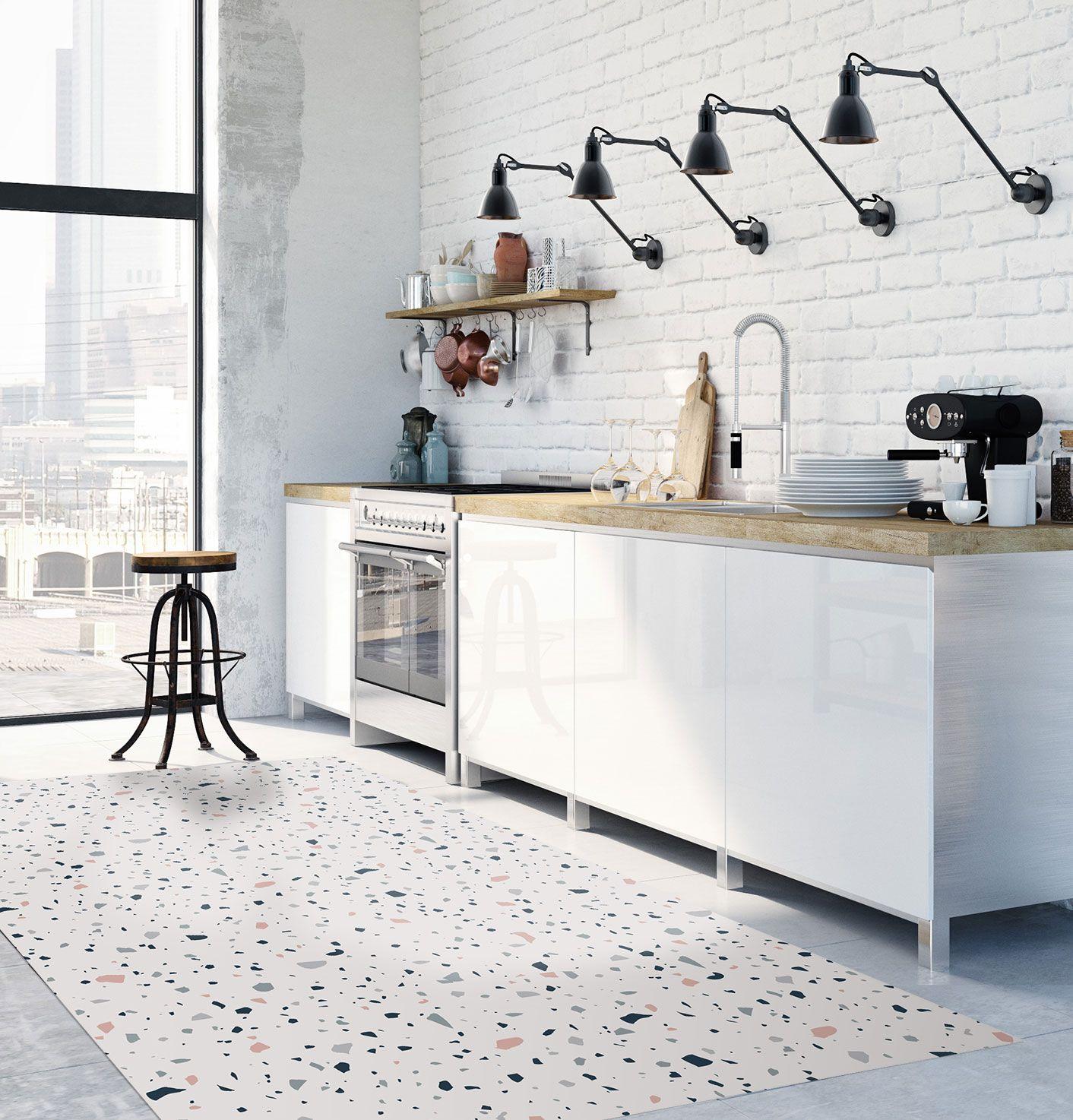 Terrazzo floor mat, Scandinavian style, Modern rug