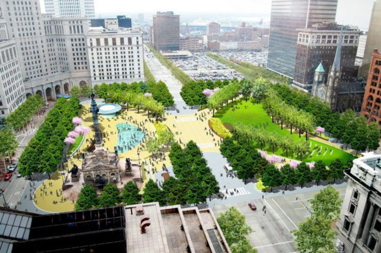 Latest plans for revamped public square in cleveland for Spaces landscape architecture