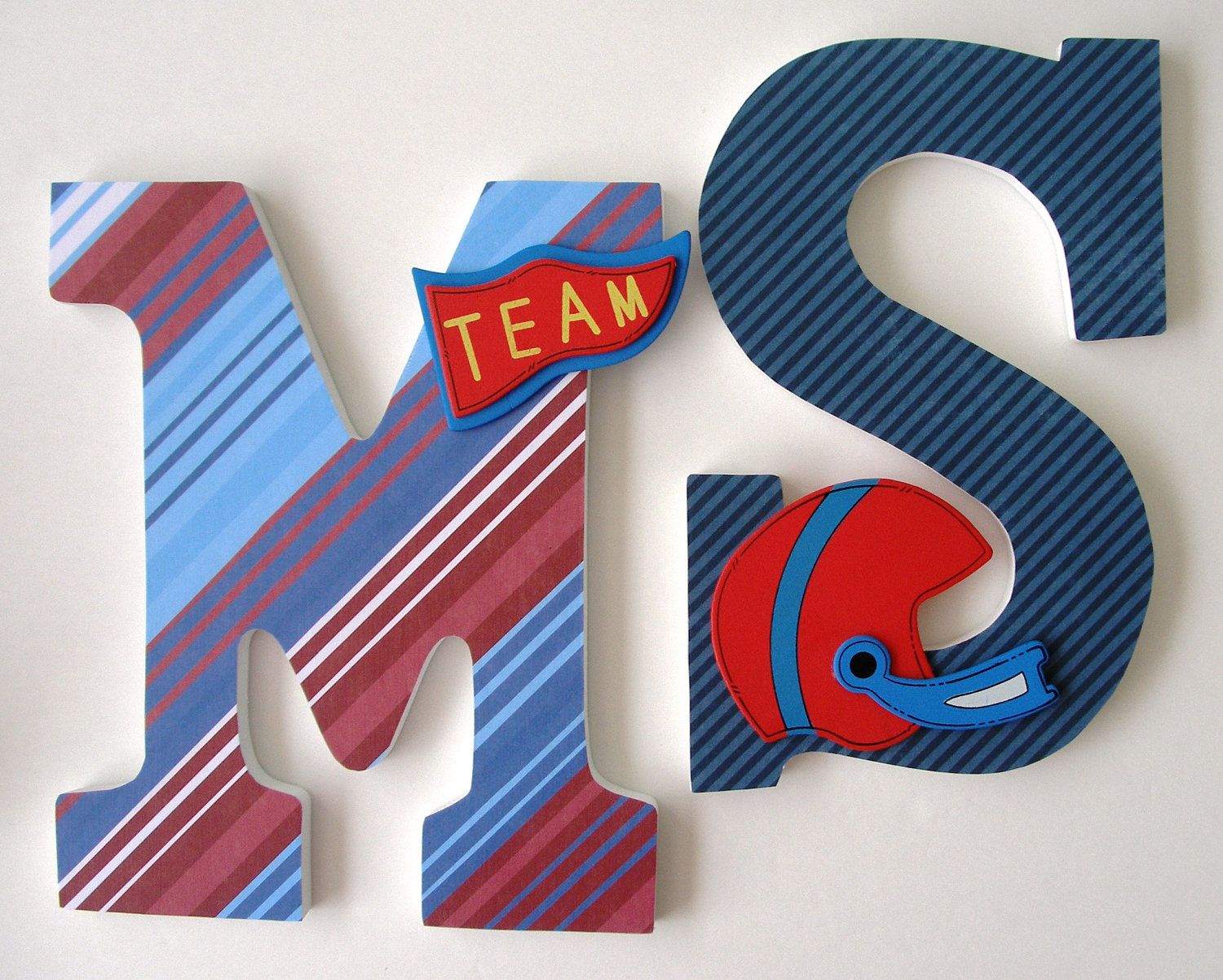 Custom Decorated Wooden Letters FOOTBALL FAN Theme by LetterLuxe, $10.00
