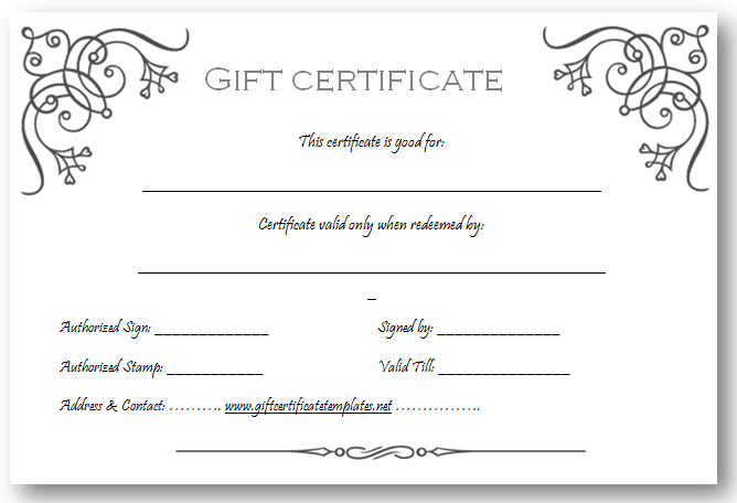 printable blank gift certificates  customized gift certificates free - Commonpence.co
