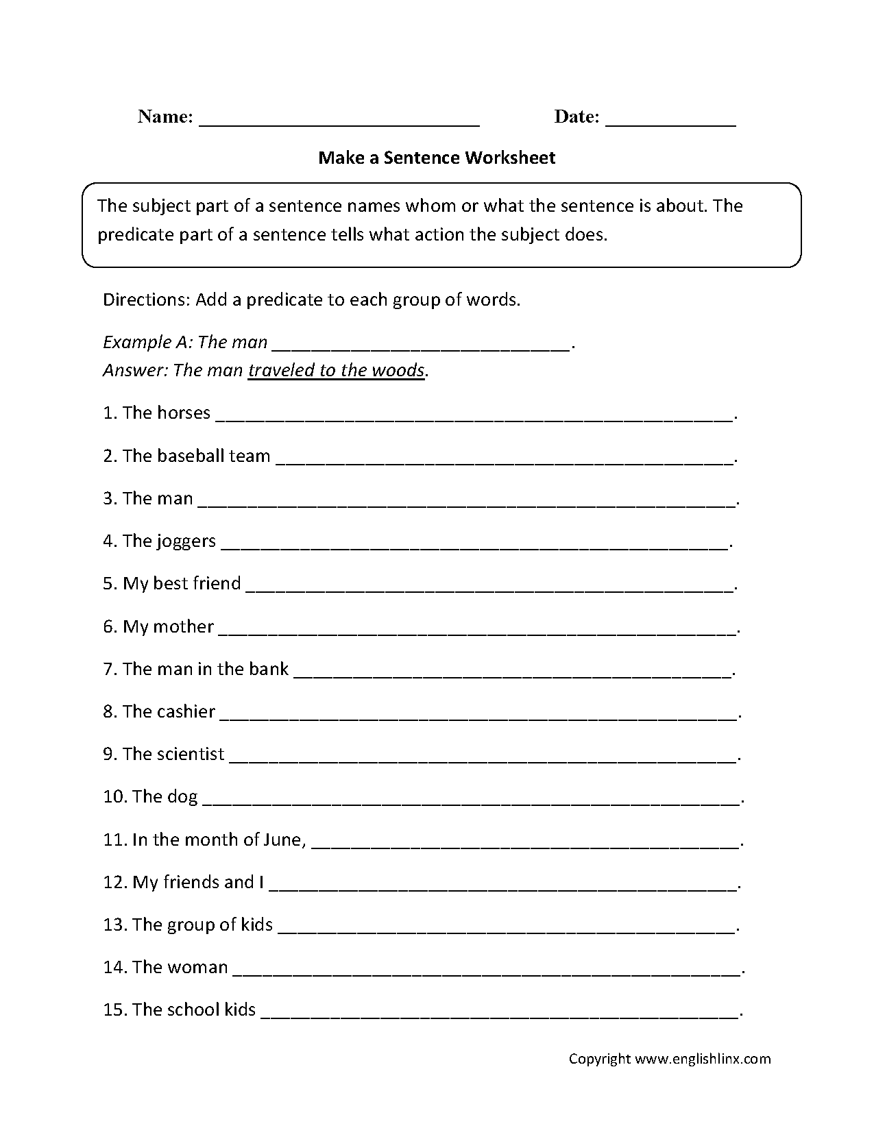 Make A Sentence Worksheet With Images