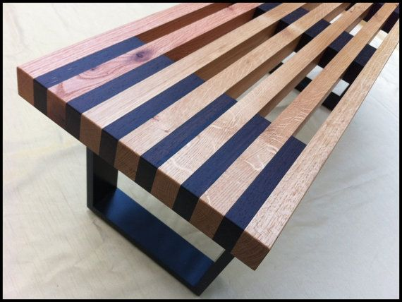 Modern Slat Bench...Nelson Style with por HawleywoodHomeHound