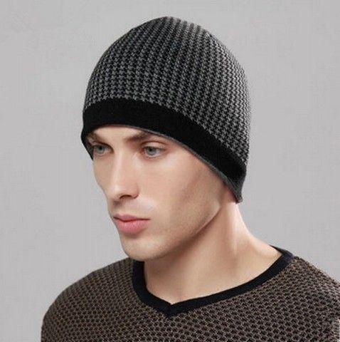 756b260270d Cheap Houndstooth beanie hat for boys plaid fleece knit winter hats ...