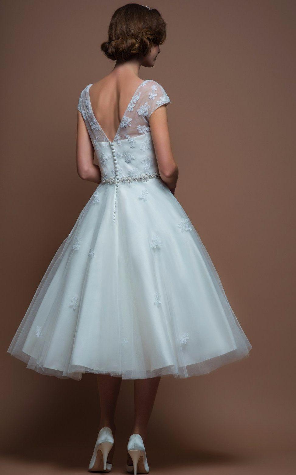 86-alice Tea length vintage inspired applique wedding dress | Short ...