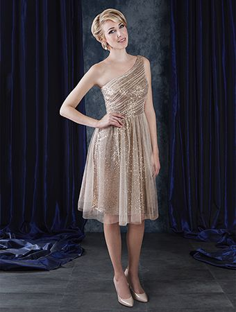 2ff32aa01cc Alfred Angelo Style 8117S  cocktail length short one-shoulder sequin bridesmaid  dress with soft net overlay