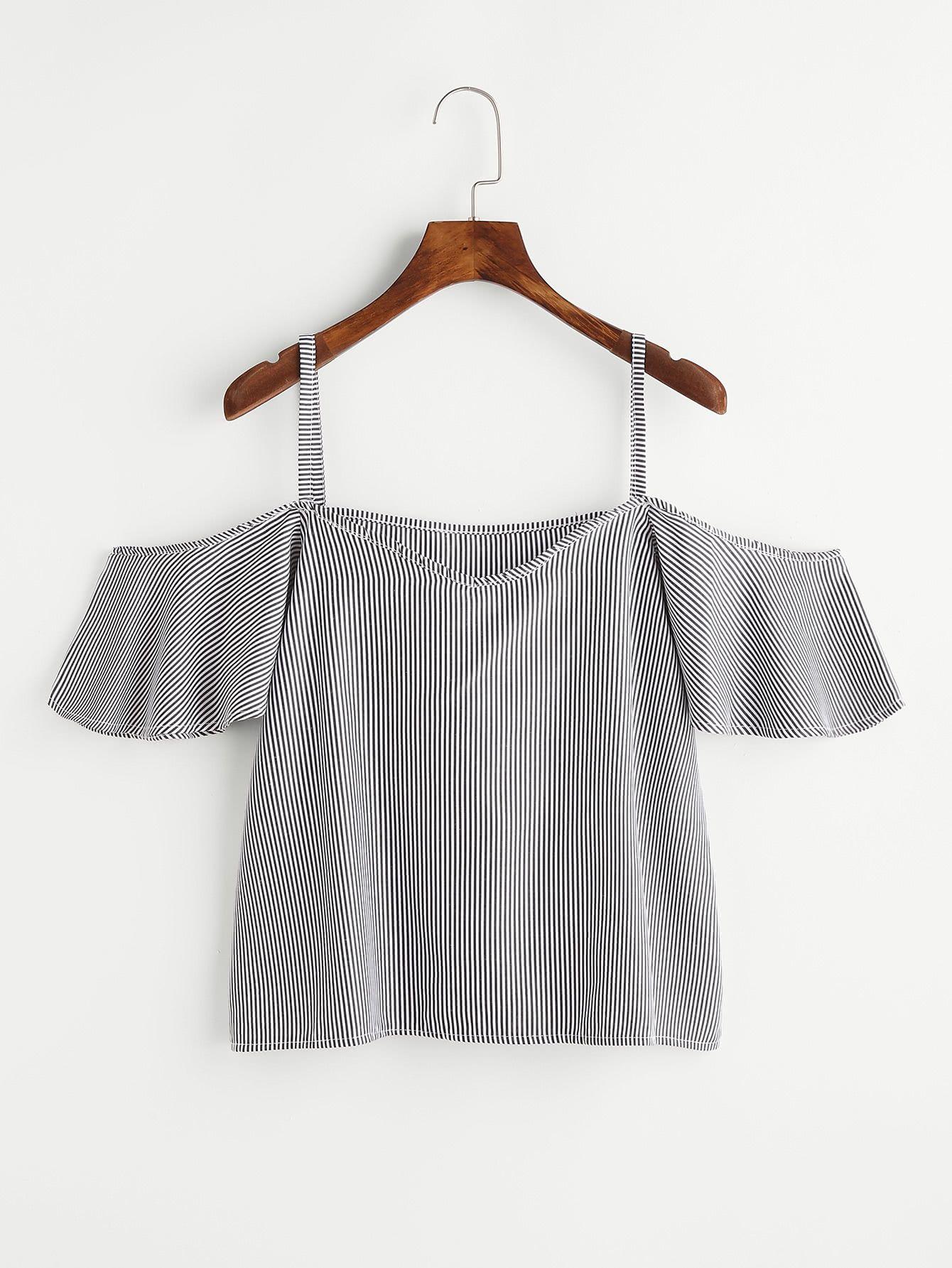 Top con hombros descubiertos de rayas -Spanish SheIn(Sheinside)