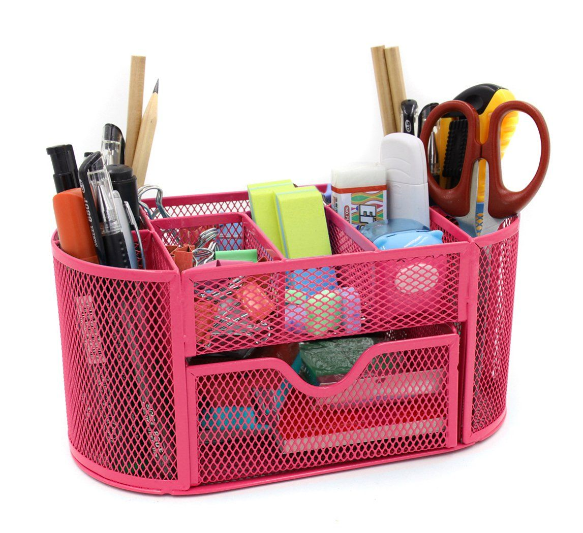 Amazon.com : Mesh Desk Organizer Office Supply Caddy Drawer with Pen ...