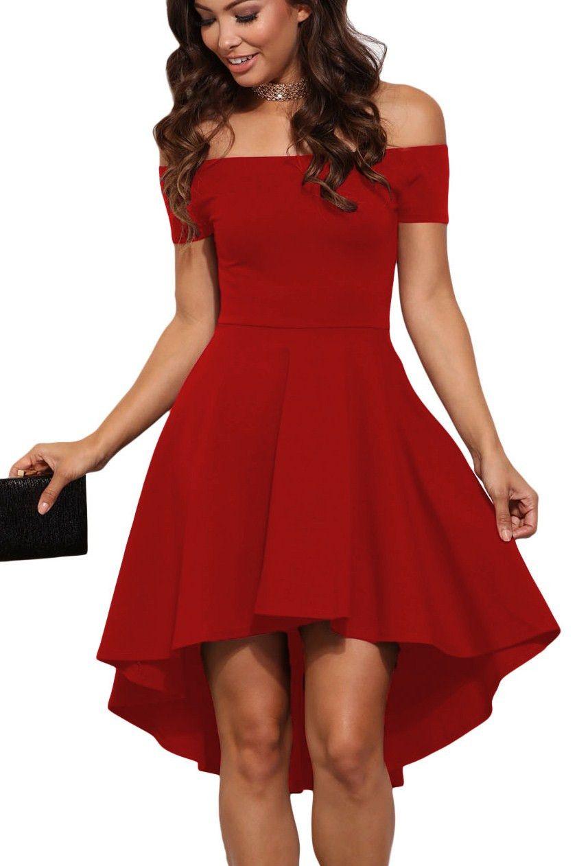 35f69d9cc5c7 Prix  €16.93 Robes de Soiree Cocktail Rouge Asymetrique Manches Courtes  Toute la Fureur Pas Cher www.modebuy.com  Modebuy  Modebuy  Rouge  femme   femmes