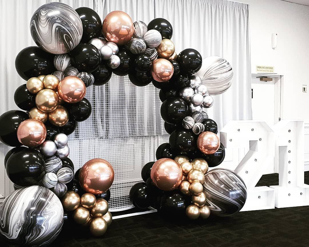 Rose Gold Black And White Marble Organic Balloon 21st Birthday