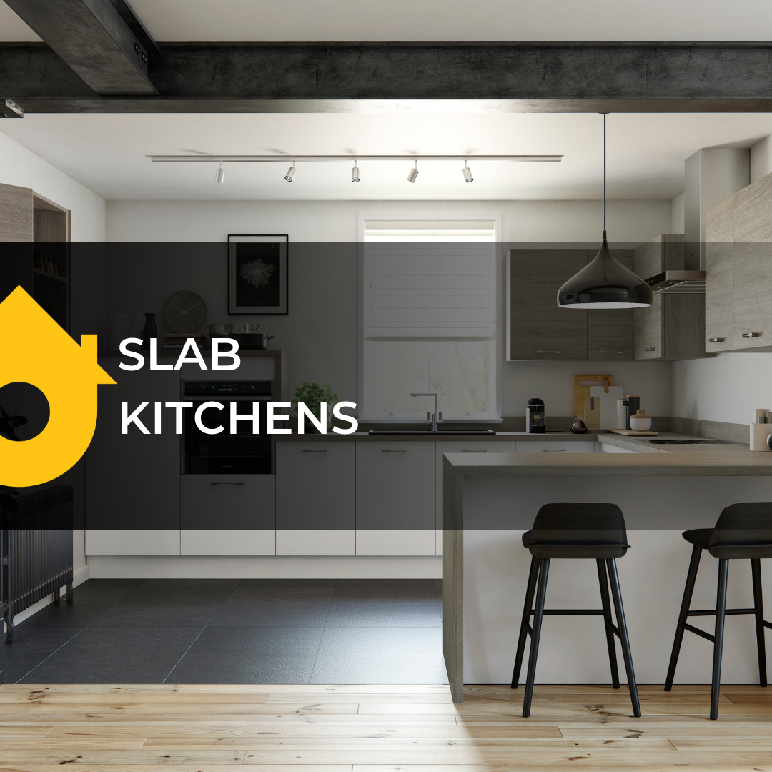 Browse our stunning collection of slab kitchens which add